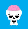 skull and brain happy emoji skeleton head marry vector image