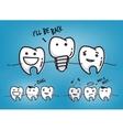 Teeth cool blue cartoons vector image