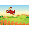 Monkey flying an aircraft vector image