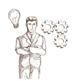 Businessman suit sketch vector image