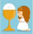 girl kid cartoon cup icon graphic vector image