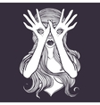 Mysterious monster girl with eyes on the hands vector image