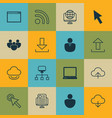 set of 16 online connection icons includes cursor vector image