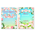 summer holiday celebration poster set with flowers vector image
