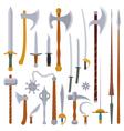 flat design colors medieval weapon set vector image