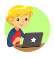 Boy Wearing Red Blue Shirt And Dark Grey Laptop vector image vector image