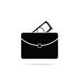 Suitcase with money black vector image