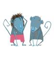 Funny Monkey Couple Hand Drawn Animal Cartoon for vector image
