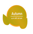 autumn sale decorate with green circle and leaves vector image