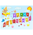 Birthday background with bear on plane vector image