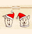 collection hand drawn puppies vector image
