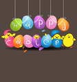 Colorful eggs with funny baby chicken on gray vector image