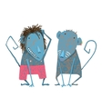 Funny Monkey Couple Hand Drawn Animal Cartoon for vector image