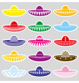 Mexico sombrero hat variations stickers set eps10 vector image