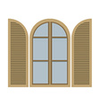 Open Vintage Arc Window Isolated On White vector image