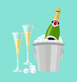 champagne bottle in bucket with ice and glasses vector image
