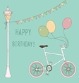 Cute card with balloons and bicycle vector image