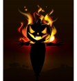 Burning Halloween scarecrow vector image