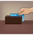 Outstretched hand with credit card and card reader vector image