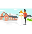Woman posing near snowman vector image