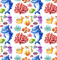Seamless sea creatures and coral reef vector image