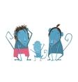 Funny Monkey Family Hand Drawn Cartoon Father vector image