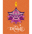 Happy diwali diya oil lamp design vector image