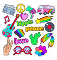 hippie lifestyle doodle with pink van peace vector image
