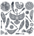 set of hand drawn ethnic elements birds feathers vector image