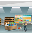 young man pushing an empty supermarket cart vector image