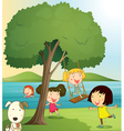 girls playing under tree vector image