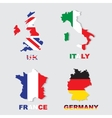 Germany Italy France UK colorful maps and flags vector image