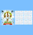 calendar easter crucifix and paschal eggs vector image