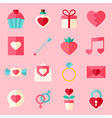 Valentine day flat icon set over light pink vector image