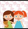 cute little friends girl hugging happy vector image