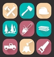 Lumberjack woodcutter icons set vector image