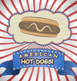 Vintage card with a picture hot dog vector image vector image