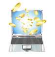 gold coins flying out of laptop computer vector image