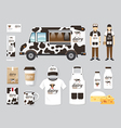 restaurant cafe design set street food truck shop vector image
