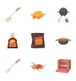 barbecue icons set cartoon style vector image