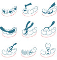 Dental icons set for clinic vector image