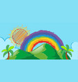 doodle scene with rainbow over the mountain vector image