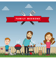 Happy family weekend or picnic mother father and vector image