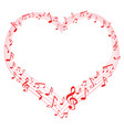 music of love music notes in heart shape vector image