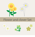 Spring and summer flower and clover collection vector image