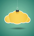 Yellow paper cloud shape origami with binder clip vector image