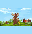 background with mill in farm style vector image