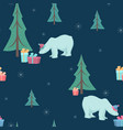 christmas tree polar bear gifts seamless pattern vector image