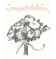 Drawn floral bouquet vintage sketch vector image