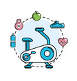 exercise mashine with healthy tolls icons vector image